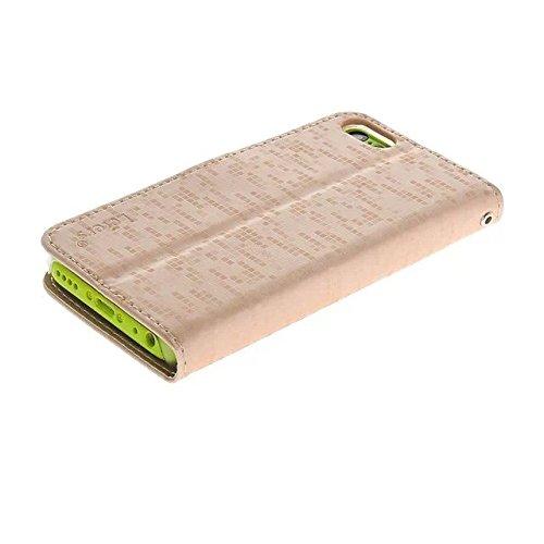 iPhone 5C Case - Flip Cover Case Étui à rabat Pu Cuir Portefeuille Housse Pour iPhone 5C Coque Etui de Protection Protecteur (Hot Rose) Rose