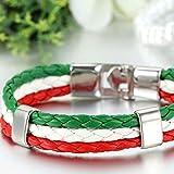 cupimatch Herren Frauen Italien Flagge italienische Banner Manschette Armreif Armband Leder geflochten, rot weiß grün, 21,1cm - 4