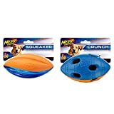 Nerf Dog Assortment: 6in TPR/Foam Squeak Football & 6in TPR Bash Crunch Football - 6 Units of Blue/Orange
