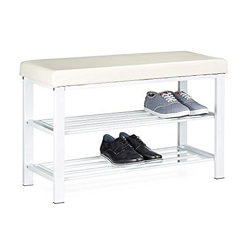 Relaxdays Schuhbank, offen, für 6-8 Paar Schuhe, Schuhregal zum Sitzen, Polsterung aus Kunstleder, HxBxT 49 x 81 x 32 cm, auf 2 Etagen, weiß