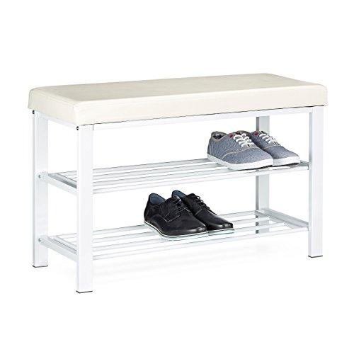 Relaxdays 10020370_49 scarpiera/mobile, acciaio, bianco, 32x80x45 cm