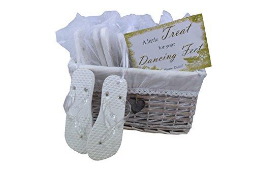 MODO Hochzeits / Party Flip-flops weiß 20 Paare in drei verschiedenen Größen,päsentiert in einem Weidenkorb 3 Paare Größe 35-36 , 12 Paare Größe 38 - 39 , 5 Paare Größe40-41