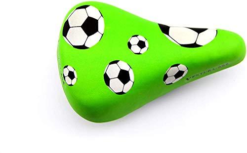 BISOMO Fahrrad Kindersattel - Kinder Junior Sattel - Grün - Motiv Fußball -