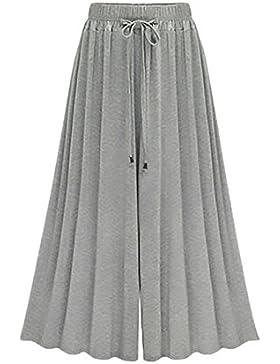Pantalon Mujer Elegantes Verano Cintura Alta Pantalones Anchos Pantalones Talla Grande Moda Casual Color Solido...