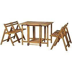 Outsunny Salon de Jardin Style Colonial 4 pers. 5 pièces Table à Manger avec roulettes + 4 chaises Pliables Bois Massif Acacia pré-huilé