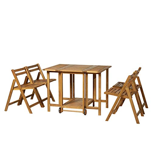 Outsunny 5-TLG. Sitzgarnitur Gartensitzgruppe Esstischgruppe Gartenmöbel klappbar 1 Tisch + 4 Stühle Akazienholz Natur 100,5 x 82 x 75 cm -
