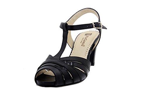Scarpe donna comfort pelle Piesanto 2262 sandali di sera comfort larghezza speciale Negro