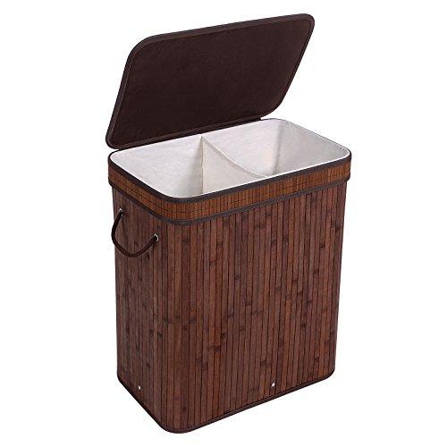 SONGMICS Cesta para ropa sucia plegable con dos compartimentos Cubos para ropa sucia de bambú con Tapa Asas Bolsa de algodón Capacidad de 100 L Forma rectangular Color natural LCB62Z