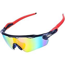 SESHINE Gafas Ciclismo, Gafas de Sol Polarizadas con 5 Lentes Intercambiables UV400 Protección para Deportes al Aire Libre, Rojo