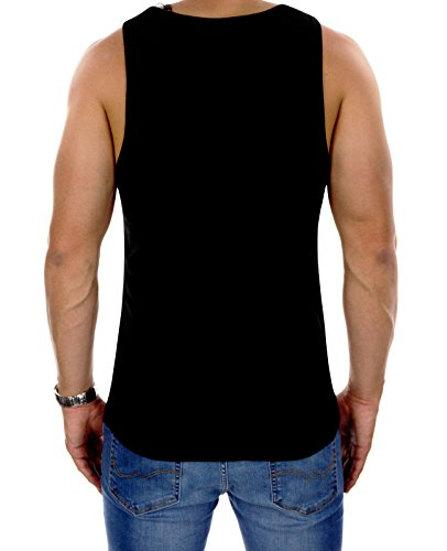 Jack & Jones Herren Tank Top jcoKOZE Print Ärmellos Mehrfarbig Slim Fit Schwarz (Black Fit:SLIM)