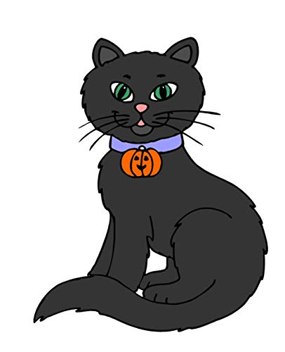 Black Halloween Cat Jack O Lantern Collar Tag School Composition Book 130 Pages: (Notebook, Diary, Blank Book) (Halloween Theme School Composition Books Notebooks) (Happy Or Trick Halloween-tag Treat)