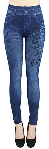 dy_mode Leggings Damen High Waist Stone Washed Optik Jeggings - OneSize Gr.36-40 - JL093 (JL200-BlueRose)