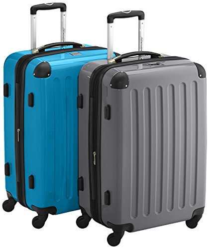 HAUPTSTADTKOFFER - Alex - 2er Koffer-Set Hartschale glänzend, TSA, 65 cm, 74 Liter, Titan-Cyanblau