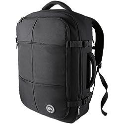 Sac à Dos Sac Cabine Uppsala– bagage à main et bagage cabine idéal de dimensions 55x40x20 extensible jusqu'à 55x40x25 (Black)