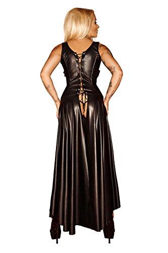 Schwarzes Damen Dessous fetisch Maxikleid wetlook Kleid mit Schnürung brustfrei lang M