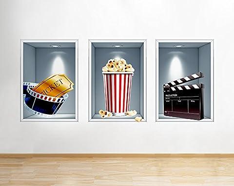 Cinema Film Popcorn Food Living Cool Window Wall Decal 3D