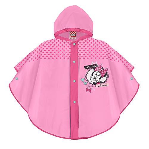 Perletti mantellina pioggia minnie rosa a pois fucsia - poncho disney impermeabile bambina minni - morbida mantella antipioggia bimba con cappuccio e bottoni - materiale eva (rosa, 3/6 anni)