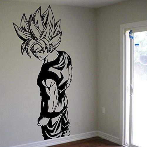 jiushizq Wandtattoo Super Saiyajin Vinyl Wandtattoo - Dragon Ball Z, Anime Wandkunst, Aufkleber Für Kinderzimmer Dekoration Schwarz XL 110x49cm