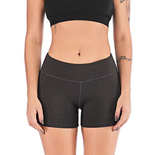 Deloito Damen Hohe Taillen Yogahosen Hotpants Mit Seite Mobiltelefon Taschen Sport Fitness Shorts Leggings Kurze Hosen (Dunkelgrau,Large)