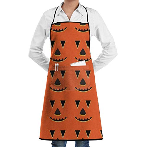QIAOJIE Halloween Cartoon Pumpkins Adjustable Bib Apron Pockets Home Kitchen Garden Restaurant Cafe Bar Pub Bakery for Cooking Chef Baker Servers Craft Unisex