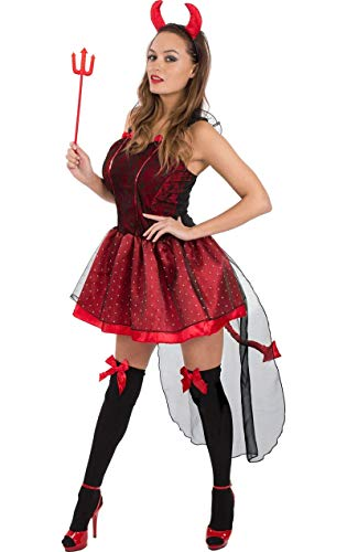 Erwachsene Damen Sexy Rot Teufel Halloween Kostüm Verkleidung Small (Womens Cute Fancy Dress Kostüm)
