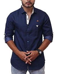 PP Shirts Men Casual Blue Denim Shirt