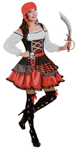 Erwachsene Kostüm Piraten Frauen Für - Brandsseller Damen Verkleidung Kostüm Piratin - enthält Kleid und Piratenkopftuch - für Karneval Fasching Halloween - L/XL