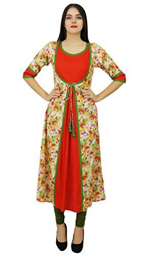 Bimba les d'une ligne dames de concepteur kurta habillement habit personnalisé Rouge