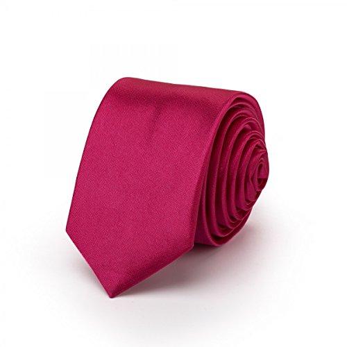 Rusty Bob - Krawatte schmal/dünn 3cm-5cm für Herren [auch für Kinder/Jungen] (uni,nicht gestreift) aus Polyester glänzt wie Seide - Pink