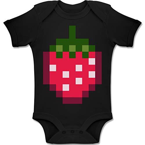 Baby Kostüm Strawberry - Shirtracer Karneval und Fasching Baby - Pixel Erdbeere - Karneval Kostüm - 12-18 Monate - Schwarz - BZ10 - Baby Body Kurzarm Jungen Mädchen