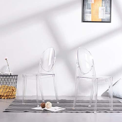 Anaelle Pandamoto Lot de 2 Ghost Chaises en Acrylique Polycarbonate pour Salle à Manger, Salon, Bureau, Restaurant et Jardin, Taille: 91 * 35 * 48cm, Poids: 9kg, Transparent