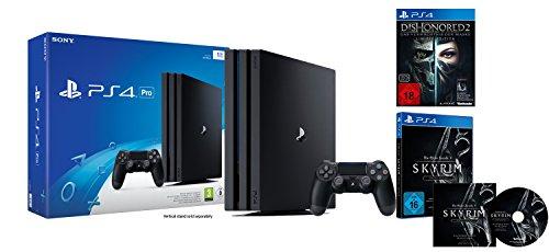 PlayStation 4 Pro - Konsole (1TB) + Dishonored 2: Das Vermächtnis der Maske - Limited Edition (inkl. Definitive Edition) + The Elder Scrolls V: Skyrim Special Edition inkl. Soundtrack-CD (exkl. bei Amazon.de) (Dishonored Special Edition)