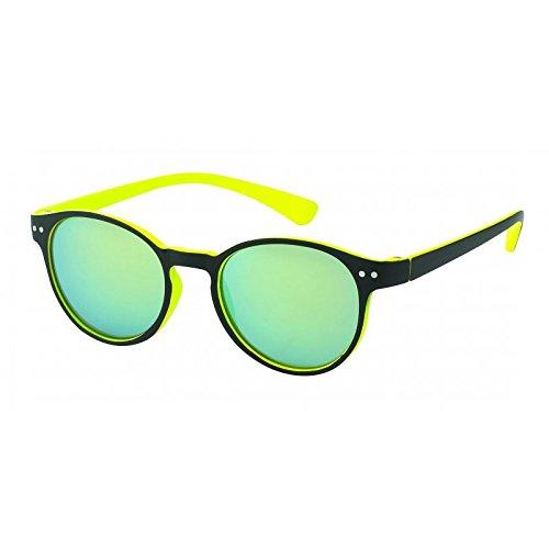 Chic-Net Sonnenbrille rund John Lennon Punkte 400UV Schlüsselloch Steg neon Farben gelb