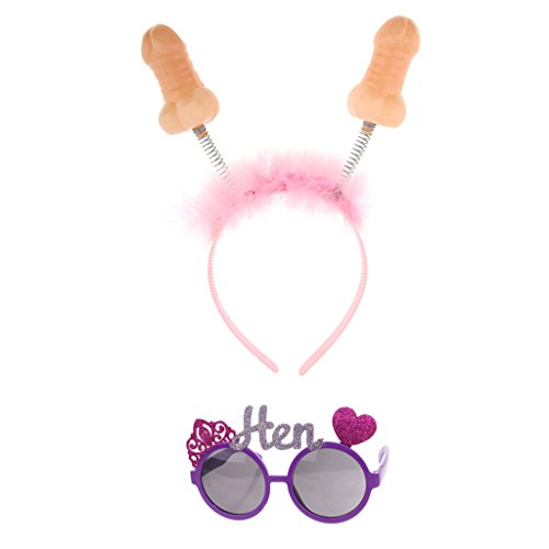 F Fityle Penis Willy Kostüm Hens Stag Party Boppers Stirnband Henne Sonnenbrille Prop