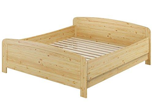 Erst-Holz® Seniorenbett Extra hoch 180x200 Doppelbett Holzbett Massivholz Kiefer Bett mit Rollrost 60.44-18