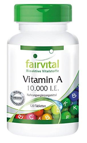 Knochen-wachstum-vitamine (Vitamin A 10.000 I.E. - 120 Tabletten - hochdosiert - Reinsubstanz - Augenlicht, Wachstum, Fortpflanzungsfähigkeit und Zelldifferenzierung sind Funktionen, an denen Vitamin A beteiligt ist)