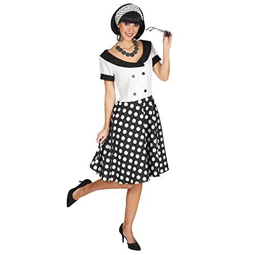 Fifties Girl Kostüm Rockabilly Fünfziger Jahre Kleid Damen weiß schwarz - 44/46 (Fünfziger Jahre Damen Kostüm)