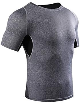 PDFGO Hombres Camisetas Fitness La Manga Corta De Secado Rápido Correr Medias De Formación De Compresión De Deportes