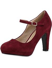 Damen Pumps Mary Janes   Spangenpumps   High Heels T-Strap   Veloursleder-Optik Schuhe   Abendschuhe Samt-Optik Lack