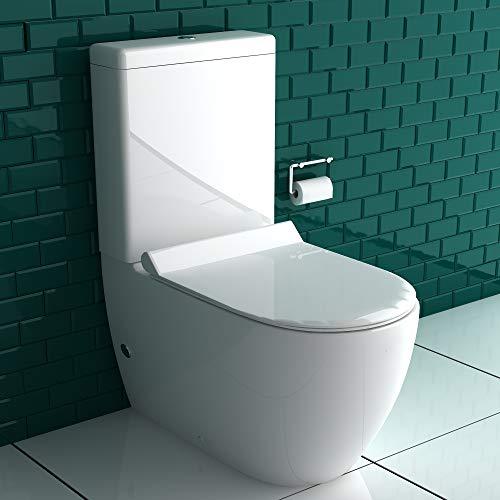 Komplett Set Stand-Dusch-WC + Spülkasten + GEBERIT Spülgarnitür + Abnehmbarer WC-Sitz mit Absenkautomatik | Komplett Set | Integrierter Taharet-Bidet Funktion | Ablauf Waagerecht und Senkrecht