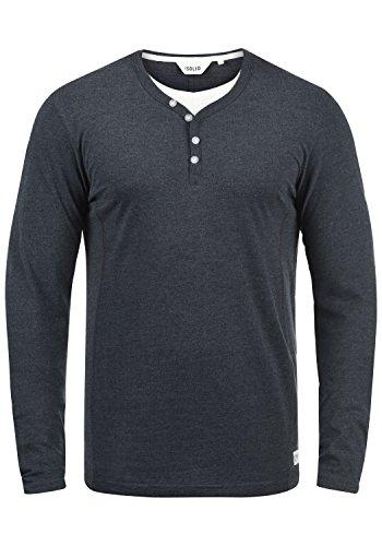 !Solid Doriano Herren Longsleeve Langarmshirt Shirt Mit Grandad-Ausschnitt, Größe:M, Farbe:Insignia Blue Melange (8991)