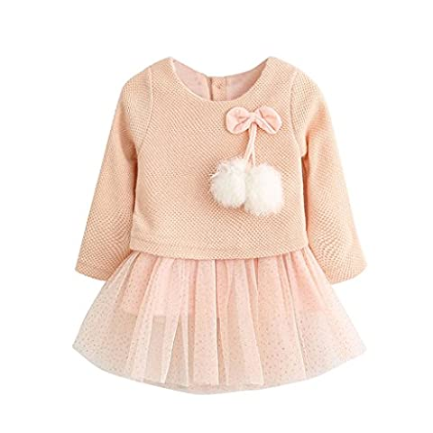 Baby bekleidung❤️JYJM❤️Toddler Baby Kid Girls Long Sleeve Knitted Bow Newborn Tutu Princess Dress 0-24M (Größe: 0-6Monat, Rosa)