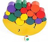 TOWO Gioco con Blocchi in Legno da Mettere in Equilibrio - Base a Forma di Luna con Formine in Legno - Gioco di Scelta e Posizionamento - Gioco Educativo in Legno per Bambini di 3 Anni in Età Prescolare