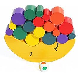 Toys of Wood Oxford Bilancia da Luna Giocattolo in Legno – Blocchi Colorati per Imparare i Colori, impilare e contare – Gioco in Legno bilanciato per Bambini