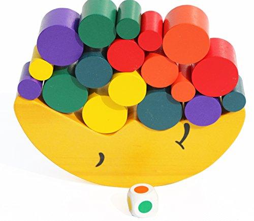 Toys of Wood Oxford Equilibrar el Juguete de apilamiento de Madera de la Luna - Bloques de construcción para Aprender los Colores, apilar y Contar - El Juego de Equilibrio de Madera para niños