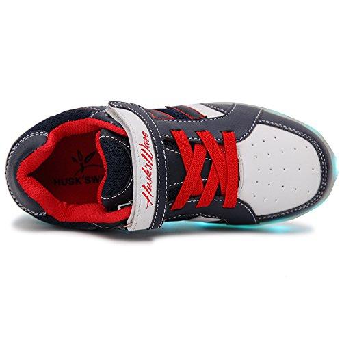 HUSK'SWARE Unisex Kinder Jungen Mädchen LED Schuhe mit USB Sportschuhe Sneakers Blau