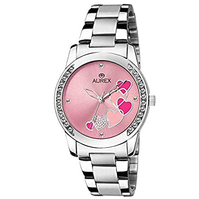 Aurex Analouge Pink Dial Watch Water Resistant Silver Color Strap Wrist Watch for Women/Ladies/Girls (AX-LR533-PKC)