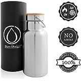 Botella de agua de acero inoxidable Botella / 1 litro de agua (1000 ml), 0.75 L (750 ml), 0.5L (500 ml), 0.35L (350 ml) - Aislado BPA libre, garantía de devolución del dinero, la botella para niños, deportes, al aire libre, bicicleta, y con el bambú cubierta / acero inoxidable botella de agua con tapa de madera de bambú / Sin plástico, Eco friendly Pure Design®