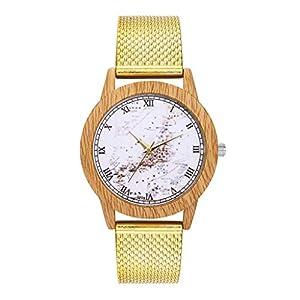 Giologre Holzmaserung Mondoberfläche Uhren Damen, Damen Wood Uhr Schmetterling Holz Armbanduhr Quarzuhr