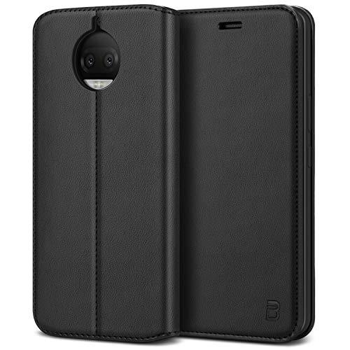 BEZ Handyhülle für Moto G5s Plus Hülle, Handyhülle Kompatibel für Motorola Moto G5s Plus Tasche, Flip Case Cover Schutzhüllen aus Klappetui mit Kreditkartenhaltern, Ständer, Magnetverschluss, Schwarz